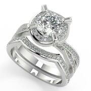 2.75 Ct Round Cut Halo Pave 4 Prong Diamond Engagement Ring Set Si2 F White Gold