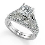 2.35 Ct Cushion Cut Pave Cathedral 4 Prong Diamond Engagement Ring Set Vs1 F 14k