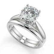 0.95 Ct Round Cut Classic Cathedral Solitaire Diamond Engagement Ring Set Vs1 F