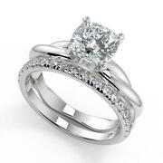 1.7 Ct Cushion Cut Infinity Solitaire Rope Diamond Engagement Ring Set Si2 H 14k