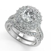 2.3 Ct Round Cut Double Halo Pave Diamond Engagement Ring Set Si1 D White Gold