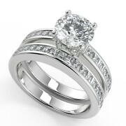 2.7 Ct Round Cut Channel Set 4 Prong Diamond Engagement Ring Set Si1 F 18k