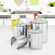 Old Dutch 943 4 Piece Hammered Stainless Steel Canister Set 4 Quart/2 Quart/1