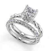 1.6 Ct Princess Cut Twisted Rope Solitaire Diamond Engagement Ring Set Vs1 H 14k