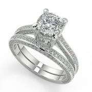 3 Ct Cushion Cut Micro Pave Double Prong Diamond Engagement Ring Set Si2 G 18k