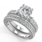 3 Ct Round Cut Bar Set 3 Sided Pave Diamond Engagement Ring Set Si1 D White Gold