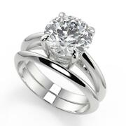 1 Ct Round Cut 4 Prong Solitaire Diamond Engagement Ring Set Vs2 F White Gold