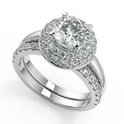 2.35 Ct Round Cut Double Halo Diamond Engagement Ring Set Si2 H White Gold 18k