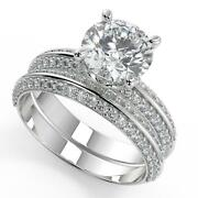 2.15 Ct Round Cut Knife Edge Pave Diamond Engagement Ring Set Si1 D White Gold