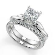 1.7 Ct Princess Cut Infinity Solitaire Rope Diamond Engagement Ring Set Si2 H