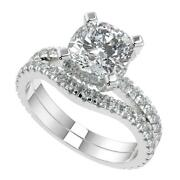 1.75 Ct Cushion Cut Micro French Pave Classic Diamond Engagement Ring Set Vs2 D