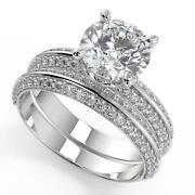 2 Ct Round Cut Knife Edge Pave Double Sided Diamond Engagement Ring Set Vvs1 D