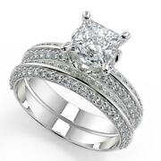 2.3 Ct Princess Cut Knife Edge Pave Diamond Engagement Ring Set Si2 D White Gold