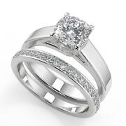 1.95 Ct Cushion Cut 4 Prong Solitaire Diamond Engagement Ring Set Si2 G 14k