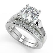 1.55 Ct Round Cut 4 Prong Cathedral Solitaire Diamond Engagement Ring Set Vs1 H