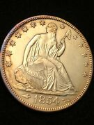 1854 Arrows Seated Liberty 50c Uncirculated Details Ms Unc Flawless Slab