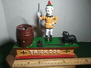 Vintage 70's Circus Trick Dog Cast Iron Mechanical Piggy Bank Works. Preowned