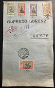 1923 Mahe French India Registered Cover To Trieste Italy Sc 43