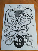 2 Person Anniversary Caricature From Photo B/w A3 - Hand Drawn. Personalised