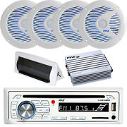 Pyle Bluetooth Marine Cd Receiver, 4x 6.5 Led Speakers, 4-ch Amp, Radio Cover