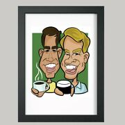 10 X 8 Colour Print - 2 Person Digital Caricature From Photo - Personalised