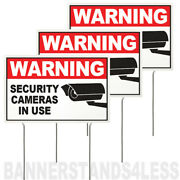 8x12 Inch Warning Security Cameras In Use Yard Sign With Stake - 3 Pack