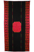 Antique Swat Valley Silk Embroidered Pulkari Shawl 19 Cent. Pakistan Black 20/a