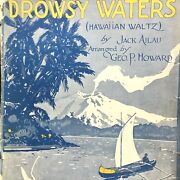 1917 Hawaiian Antique Sheet Music Drowsy Waters By Jack Ailau Outrigger Canoe