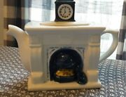 Tea Pot, Fire Place Teapot, Bombay And Co.,with Cat, Clock On Mantel 5021466