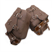 Motorcycle Faux Leather Retro Side Saddlebags With Drink Holder Bag Custom