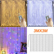 3mx3m Fairy Led Curtain String Light Usb Hanging Xmas Party Backdrop Lamp Remote