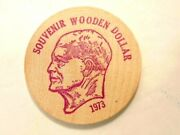 1973 Tamaqua Area Coin Club Souvenir Wooden Dollar In Red Ink Eisenhower On Obv