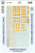 Microscale 871301 Decal H0 - Csx 60andacute And 86andacute Boxcars 1984+ 87-1301