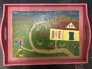Haitian Hand-painted Wooden Tray Signed Gingerbread Restaurant Haiti