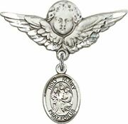 Sterling Silver Baby Badge Guardian Angel Pin With Holy Family Charm, 1 1/4 Inch