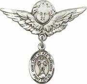 Sterling Silver Baby Badge Guardian Angel Pin With Our Lady Of All Nations Charm