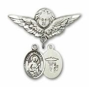 Sterling Silver Baby Badge Guardian Angel Pin With Saint Camillus Patron Of Doct
