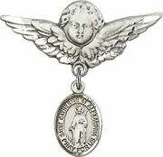 Sterling Silver Baby Badge Guardian Angel Pin With Saint Catherine Of Alexandria