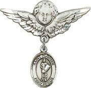 Sterling Silver Baby Badge Guardian Angel Pin With Saint Florian Charm, 1 1/4 In
