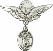 Sterling Silver Baby Badge Guardian Angel Pin With Saint Joachim Charm, 1 1/4 In