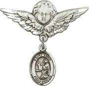 Sterling Silver Baby Badge Guardian Angel Pin With Saint Luke The Apostle Charm,