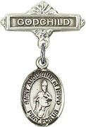 Sterling Silver Baby Badge Godchild Bar Pin With Saint Augustine Of Hippo Charm,
