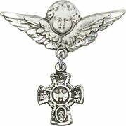 Sterling Silver Baby Badge Guardian Angel Pin With 5-way Charm, 1 1/4 Inch