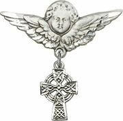 Sterling Silver Baby Badge Guardian Angel Pin With Celtic Cross Charm, 1 1/4 Inc