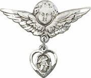 Sterling Silver Baby Badge Guardian Angel Pin With Heart Shape Guardian Angel Ch