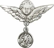 Sterling Silver Baby Badge Guardian Angel Pin With Round Guardian Angel Charm, 1