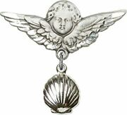 Sterling Silver Baby Badge Guardian Angel Pin With Shell Charm, 1 1/4 Inch
