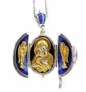 Religious Gifts Blue Locket Egg Pendant Madonna And Child Icon Silver Gold Tone