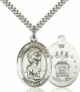 Bliss Sterling Silver Saint Christopher Air Force Medal Pendant, 1 Inch