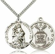 Bliss Sterling Silver Saint Christopher Pendant Air Force Military Medal, 1 3/8